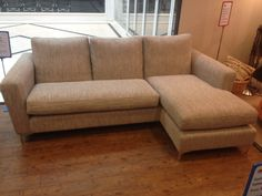 Cheshire sofa with footstool (which creates a flexible reversible chaise) in J Brown Harley stone/mink.  Very nicely made in Manchester.