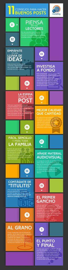 11 consejos para hacer buenos posts. Infografía en español. #CommunityManager
