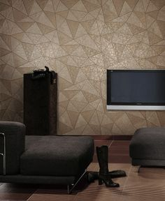 Modern Earth Tone Wallpaper. Papel Tapiz Moderno Faux Leather. Disponible en Habitat Modernista. US$100.00