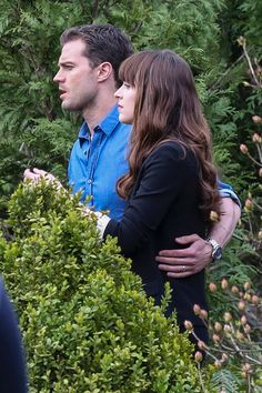 Adorable @lilyslibraryJamie Dornan as Christian Grey and Dakota Johnson as Anastasia Steele filming Fifty Shades Darker & Freed