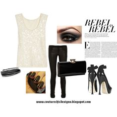 Rebel..black leather pants, sequence top, created by jgalonso on Polyvore  www.couturechicdesigns.com