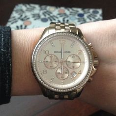 Michael Kors Watch Rose gold with rhinestone detailing. No scratches. In good used condition. Michael Kors Accessories Watches