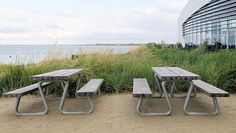 THORS Omega, The Blue Planet Copenhagen #picnicbench #outdoordiningset #outdoorfurniture