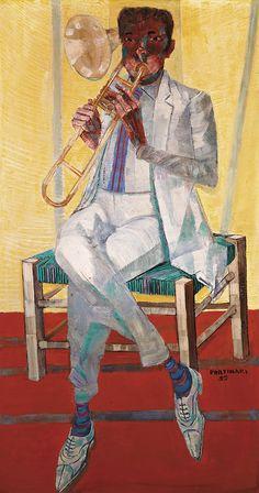 Musician, by Candido Portinari (Brazilian Arte Jazz, Jazz Art, Gmunden Austria, Art Images, Art Pictures, South American Art, Visual And Performing Arts, Arte Popular, Art Music