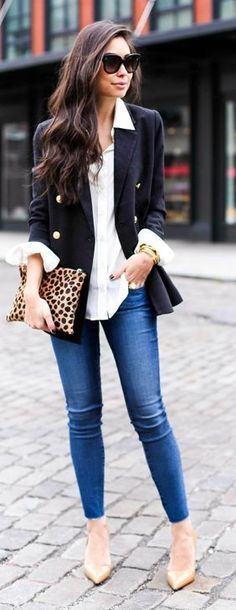 nude heels   black blazer   leopard purse and chic skinny jeans                                                                                                                                                                                 More
