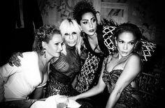 Lady Gaga with Uma Thurman, Donatella Versace & Jennifer Lopez
