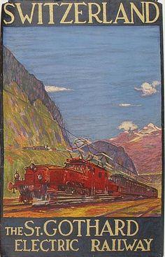 By  Daniele Buzzi (1890-1974), The St. Gothard Electric Railway, printed by J.E. Wolfenberger.