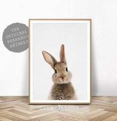Kwekerij Print, afdrukbare dier, konijn Wall Art Poster met bosrijke Decor, Baby Shower, digitale Download, moderne Baby kamer konijn