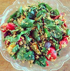 Villris  -  stekt gresskar  -  aubergine  -  rød og gul paprika  -  stekt spinat  -  soyasaus  -  olivenolje  -  korriander
