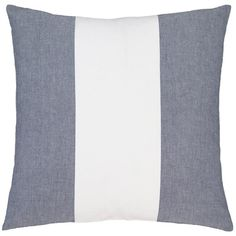 Need a coastal refresh? Place this cotton decorative pillow, featuring a broad indigo and white stripe, on your bed, couch, or favorite chair for an instant dose of nautical flair. • 100% cotton. • Vertical stripes. • Knife edge. • Zipper closure.