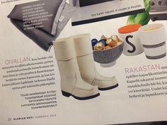 Töysän kenkätehtaan Arctips-saappaat Glorian Koti -lehdessä tammikuussa 2014. www.arctips.fi