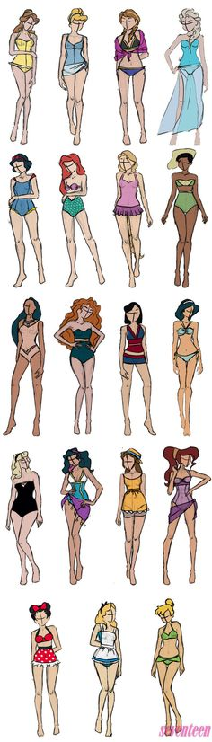 If the Disney Princesses Went on Spring Break, This Is What They'd Wear is part of Disney princess fashion - See your fave characters' signature gowns reimagined as swimsuits Disney Pixar, Disney Mode, Disney Fan Art, Disney And Dreamworks, Disney Magic, Walt Disney, Disney Characters, Brave Disney, Tinkerbell Disney