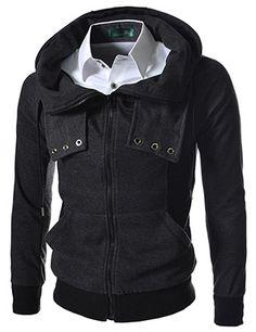 (EBJ05-CHARCOAL) Slim Fit High Neck Hood Jacket