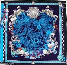 Authentic VERSACE FLORAL Print Silk Scarf Foulard | eBay