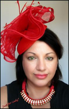 bibichapeau grand luxe couture lin et plumes rouges sur serre tte - Serre Tete Chapeau Mariage