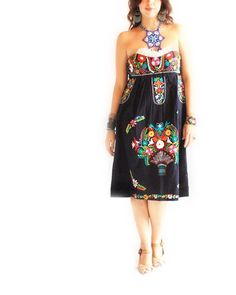 Fridita Tehuana Mexican dress embroidered by AidaCoronado on Etsy