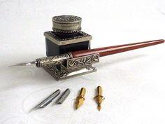 Bortoletti Wooden Calligraphy Dip Pen, Inkwell & Pen Rest