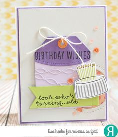 Card by Lisa Henke. Reverse Confetti stamp sets: Celebrations and Candles 'n Confetti. Confetti Cuts: Candles 'n Confetti, Linked Garland, Detailed Circles and Top 'o the Tag. Birthday card. Friendship card.