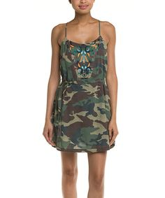 Look at this Green Camo Tie-Waist Dress on #zulily today!