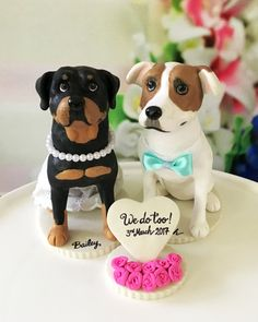4-6 Custom Rottweiler and Staffordshire Bull by DogCakeTopper