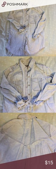 Light Denim Shirt Light wash denim shirt from express. Excellent condition. Really great basic. Size xs Express Tops Button Down Shirts
