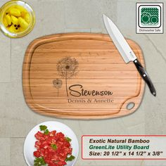 Personalized Extra Large Bamboo Cutting Board - Design 28