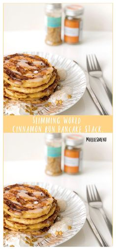 An adaptation of the cinnamon bun in the form of a pancake stack! These fluffy cinnamon swirl pancakes are drizzled with icing and are a great autumn treat. Slimming World Pancakes, Cinnamon Swirl Pancakes, Pancake Stack, Tasty, Yummy Food, Fall Treats, Group Meals, How To Slim Down, Food Menu