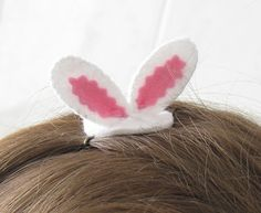 Easter bunny ears hair clip  - Check out more Easter Party Ideas {Crafts, Food, Drinks}