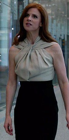 Donna's beige and black twist neck dress on Suits.  Outfit Details: https://wornontv.net/34125/ #Suits