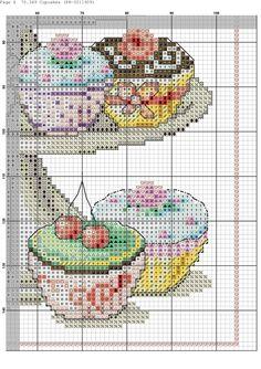 Zz Cross Stitch Designs, Cross Stitch Patterns, Cross Stitching, Cross Stitch Embroidery, Cupcake Cross Stitch, Intarsia Knitting, Stitch Magazine, Cross Stitch Kitchen, Needlepoint Patterns