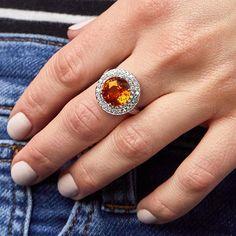 A double halo of diamonds set in platinum make this orange sapphire sparkle even more.  @oscarheyman Druzy Ring, Gemstone Rings, Orange Sapphire, Halo, Sparkle, Gemstones, How To Make, Diamonds, Jewelry