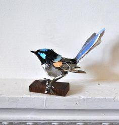 love this little blue and black paper bird #art #design #sculpture