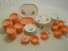Vintage 76 Pc Harmony House Catalina Melmac~Shabby Avalon Pink Rose Dinnerware