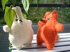 knitted rabbit and fox