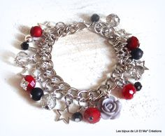 Lili Et Ma* Créations, bracelet chaîne breloques, ETOILES 17cm : Bracelet par lili-et-ma-creations