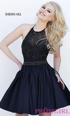 Short Halter Top Sherri Hill Homecoming Dress at PromGirl.com
