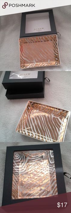 J. Crew jewelry tray J. Crew jewelry tray; in box never used; great for jewelry, trinkets, change, small makeup items, or just to display on its own; beautiful pattern; approximately 5 1/2 x 4 1/4 x 1; great condition J. Crew Accessories