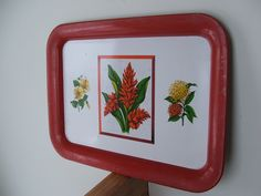 Mid Century Metal Tray with tropical flowers by lookonmytreasures on Etsy