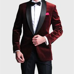 10a6343c5bd5a Fashion Style One Button Dark Red Men's Wedding Prom Suits Bridegroom Groom  Velvet Groom Tuxedos Men Suit (Jacket+Pants+Bow Tie)