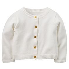 Carters Baby Girls Sparkle Cardigan Ivory With Gold Buttons 9 Months ** Details can be found by clicking on the image.