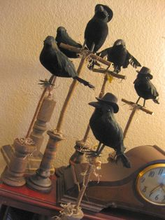 DIY Halloween - dollar store crows on dollar store candlesticks