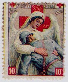 1916 Red Cross Cinderella Stamp from St. Pierre & Michelon.