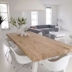 Scandinavian Design   Natural Wood Table, White Chairs