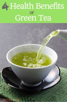 4 health benefits of green tea. Green tea has been used in China for thousands of years. Healthy Recipes For Weight Loss, Easy Healthy Recipes, Healthy Drinks, Healthy Choices, Healthy Food, Green Tea Diet, Best Green Tea, Natural Remedies For Osteoarthritis, Green Tea Benefits