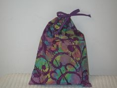 Medium Purple Batik Wrapping Bag with purple drawstring by CrazyAuntBettyBags on Etsy