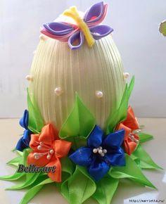 Шелковые пасхальные яйца с цветочками канзаши (13) (569x700, 257Kb)