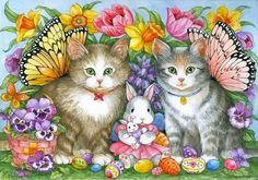 Paintings I Love, Beautiful Paintings, Easter Cats, Tiger Artwork, Cute Animals Images, Decoupage, Cat Clipart, Creative Connections, Colored Pencil Techniques