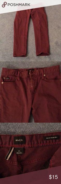 RVCA Rocker Style Maroon Jeans Sz. 31 Good condition. Rocker jeans. See pics. Sz. 32 RVCA Jeans Skinny