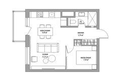 141126 Дизайн 1-комнатной квартиры 38 кв. м.