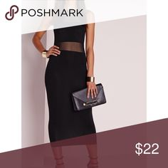 Mesh black Bodycon WORN ONCE Worn once; black mesh dress Missguided Dresses Midi